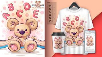 schattige teddybeer leesboek poster vector