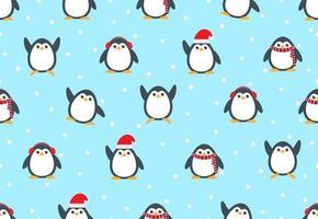 naadloze patroon van schattige sneeuwpinguïns