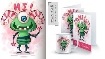 schattig monster zegt hallo poster vector