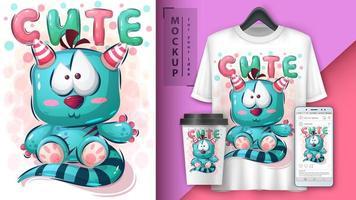 schattige teddybeer monster poster vector