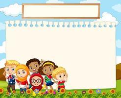 vel papier achtergrond met kinderen op gras vector
