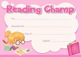 lezen champ certificaatsjabloon met meisje leesboek vector