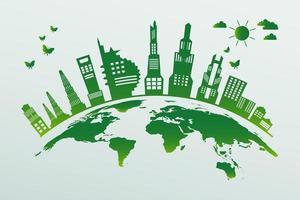 groene stad zittend op wereldbol