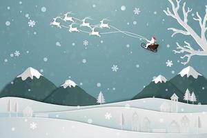 ontwerp voor een papieren kunst met de kerstman