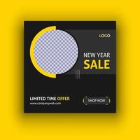 nieuwe jaar verkoop sociale media post sjabloon