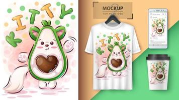 kitty avocado poster en merchandising vector