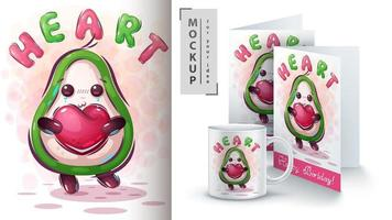 avocado met hart poster vector