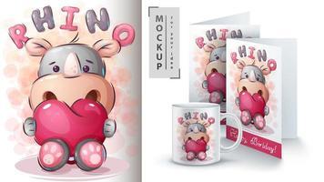 neushoorn met hart poster