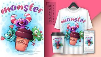 schattige monsters met koffie poster