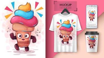 dans kleurrijke ijsje poster vector