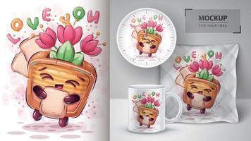 broodrooster met tulpen hou van je poster vector