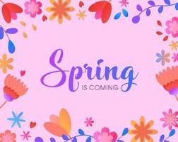 bloemen lente ontwerp met roze achtergrond vector