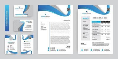 moderne blauwe zakelijke briefpapier sjabloon ontwerpset