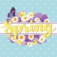 bloemen kaartsjabloon met kalligrafische tekst lente vector