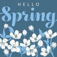 witte kersenbloesem met hallo lente belettering vector