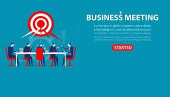 zakenlieden zitten aan vergadertafel bestemmingspagina vector