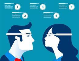 zakenman en vrouw met futuristische glazen infographic vector