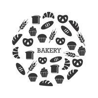 zwart en wit bakkerij set vector