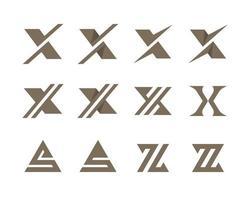 letters xs en z typografische logo set vector