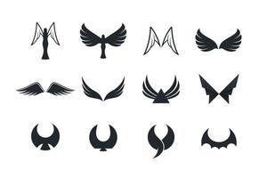 vleugel en engel pictogrammen instellen vector