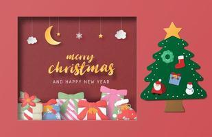 Kerstviering wenskaart in papier gesneden stijl. vector