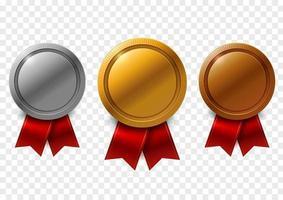 gouden, zilveren en bronzen medailles met rode linten