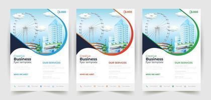witte zakelijke flyer-sjablonen met gekleurde lijn vector