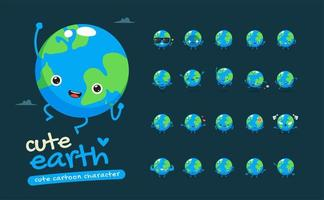 schattige aarde mascotte tekenset vector