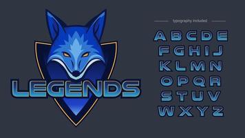 blauwe vos sport team mascotte concept met typografie vector