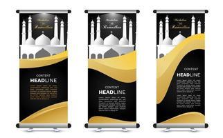 roll up ramadan banner mock up set vector
