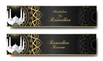 ramadan moskee banner sjabloon set vector
