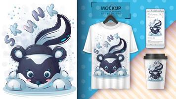 mooie skunk poster en merchandising vector