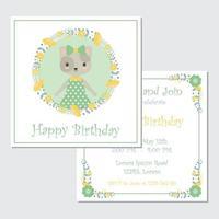 gelukkige verjaardagskaart met kat vector