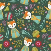 schattige vos en bloemen patroon donkere achtergrond vector