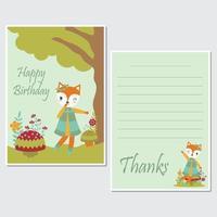 Bedankt en gelukkige verjaardagskaart ingesteld vector