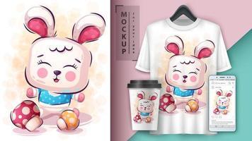 schattig konijn poster en merchandising. vector