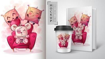schattige beer-poster en merchandising. vector