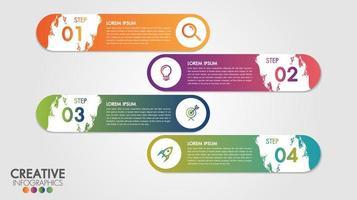 infographic modern ontwerpsjabloon met 4 stappen