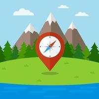 natuur landschap met kompas vector