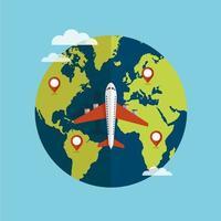 vliegtuig reist rond de wereld vector