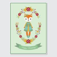 Fox meisje in bloemen krans voor verjaardagskaart vector