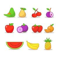 set van fruit pictogrammen vector