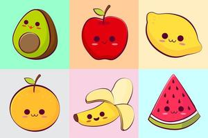 kawaii tropische fruitcollectie vector