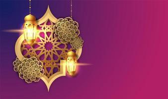 roze en paarse ramadan kareem lantaarn kaart vector