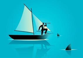 zakenman silhouet in boot omringd door haaien