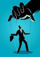 zakenman silhouet gecontroleerd door poppenspeler vector