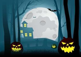 donker bos met eng huis vector