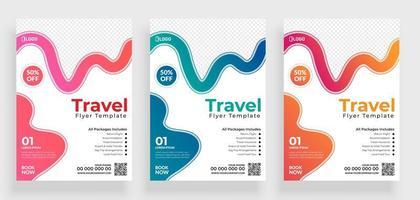 set reizen flyer sjabloon met kleurrijke curven
