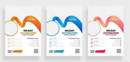 set van reizen flyer ontwerpsjabloon met cirkelframe