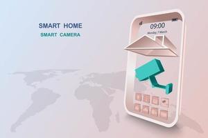 smart home met camerabesturing vector
